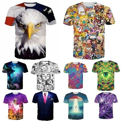 Fashion 3D Graphic Print Men Women Summer Casual Short Sleeve Tees Tops T-Shirt