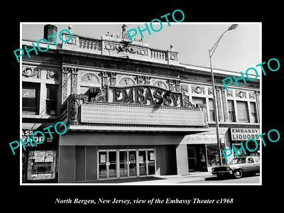 OLD LARGE HISTORIC PHOTO OF NORTH BERGEN NEW JERSEY, THE EMBASSY THEATER c1968
