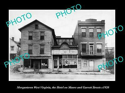 OLD LARGE HISTORIC PHOTO OF MORGANTOWN WEST VIRGINIA, THE TOWN HOTEL c1920
