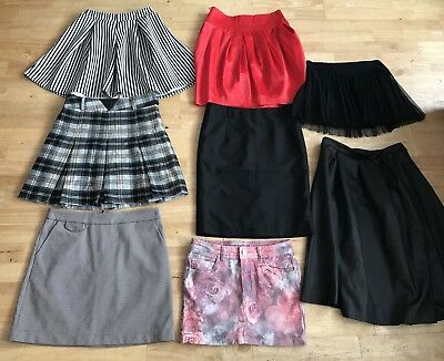 Bundle womens skirts size 10 lipsy boohoo new look black red floral