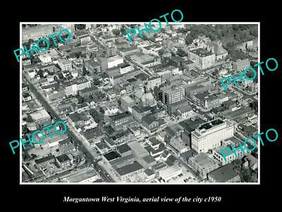 OLD LARGE HISTORIC PHOTO OF MORGANTOWN WEST VIRGINIA, AERIAL OF CITY c1950 1