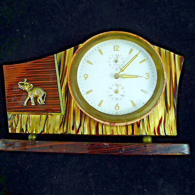 Mantel Clock Table Design Art Deco Bakelite ? Germany Wehrle Alarm 1930 Elephant
