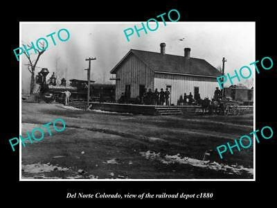 OLD LARGE HISTORIC PHOTO OF DEL NORTE COLORADO, RAILROAD DEPOT STATION c1880