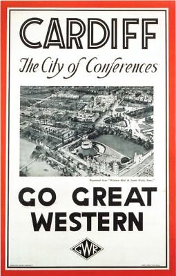 Vintage GWR Cardiff For Conferences Railway Poster A4/A3/A2/A1 Print