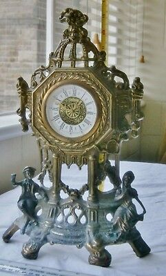 "Heavy Ornate ""Brass"" Mantle Clock"