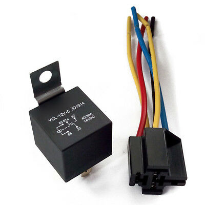 NEW DC 12V Car SPDT Automotive Relay 5 Pin 5 Wires w/Harness Socket 30/40 Amp