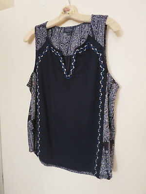 Lucky Brand Navy Sleeveless Top Size Large