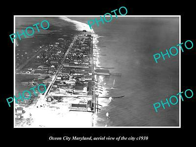 OLD LARGE HISTORIC PHOTO OF OCEAN CITY MARYLAND, AERIAL VIEW OF CITY c1930 2