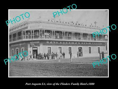 OLD LARGE HISTORIC PHOTO OF PORT AUGUSTA SA, VIEW OF THE FLINDERS HOTEL c1880
