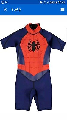 Spiderman Boys Shortie Wetsuit 7-8 years. Worn once last summer good condition.