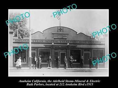 OLD LARGE HISTORIC PHOTO OF ANAHEIM CALIFORNIA, THE STEAM BATH PARLOURS c1915