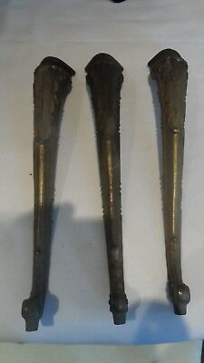 """Three Old Brass Ornate Table Legs For A Small Round Table 13.5"""" Length See Pics"""