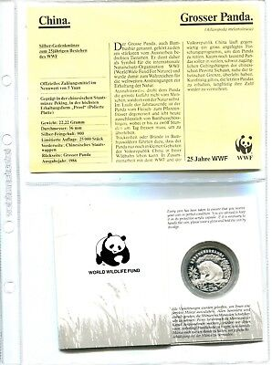 China 5 Yuan 1986, 25 Jahre WWF ,Silber *PP/Proof*,OVP  (16093)