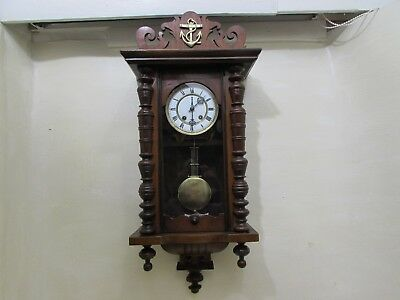 Antique Spring Driven Vienna Style Striking Wall Clock For Repair Main Spring