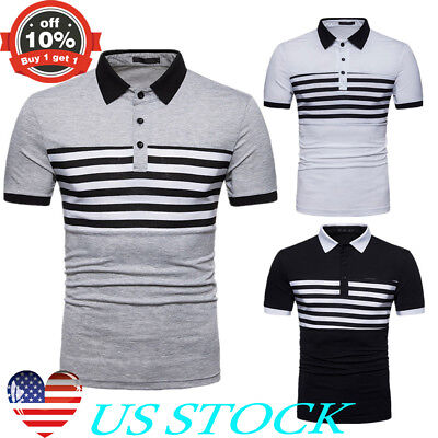 Mens Polo T-Shirt Slim Fit Short Sleeves Breathable Tee Plain Casual Button Tops