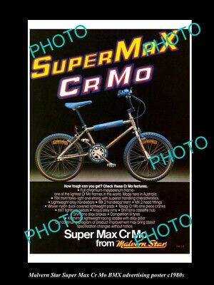 Old Large Historic Photo Of 1980 Malvern Star Super Max Bmx Advertising Poster