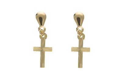 Solid Gold Cross Earrings Drops Drop Ears 9 Carat Yellow 375 Hallmarked