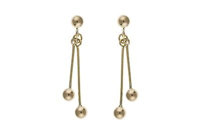 Solid Gold Drop Earrings Stick Ball Drops 9 Carat Yellow 375 Hallmarked