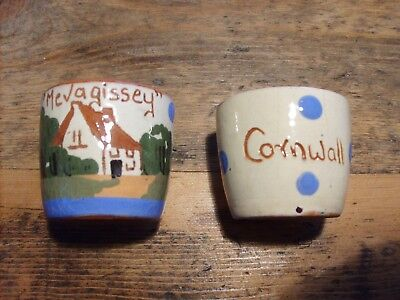 Vintage Pair Torquay ware Egg Cups - 'Mevagissy' - 'Cornwall' -  c1920's/1950's.