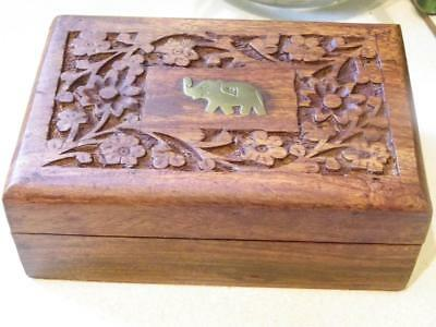 Hand Carved Wooden Box with Brass Elephant Insert