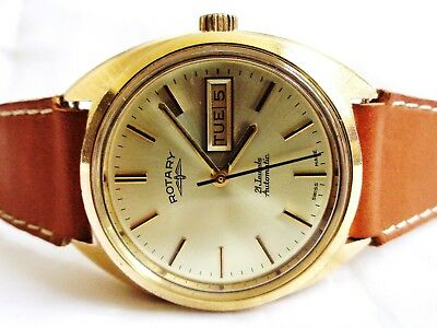 Vintage Rotary Gold Plated Swiss Made Automatic 21 Jewels Day Date Men's Watch