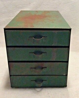 Vintage Green small parts storage box bin with compartmentalized drawers