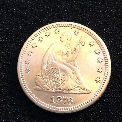 1876-P Seated Liberty Quarter, Brilliant Choice Silver Lusterous w die crack