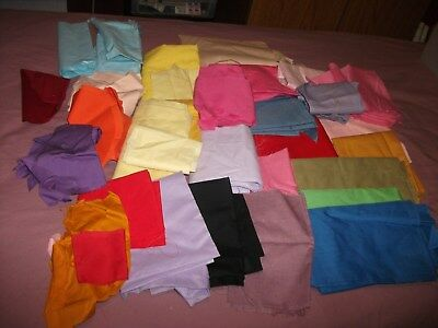 Lot of 24+ Vintage Solid Color Fabrics For Quilting Or Crafts
