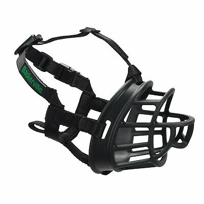 Baskerville Ultra Adjustable Padded Dog Muzzle Plastic Basket – Black All Sizes