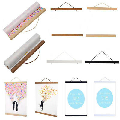 21CM-80CM DIY Magnetic Wooden Photo Hanger Frame Scroll Print Poster Picture WS