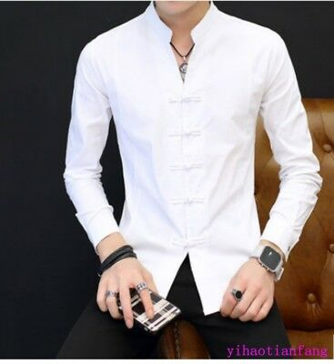 SZ Chinese Style Boys Slim Fit round collar Tops Casual retro shirts Flax button