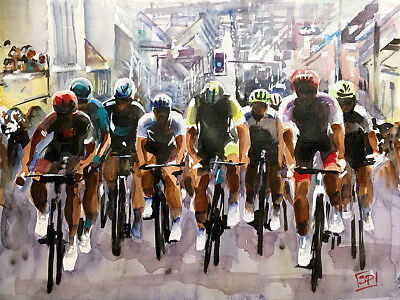 """Tete de la Course"" Le Tour de France Daily Original Painting by Shirley Peters"