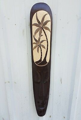 "Intricate 40"" Handcarved With A Chisel ""palm Tree"" Wood Wall Decor Mask!!"