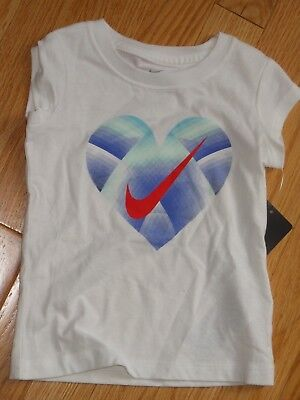 NWT - Nike short sleeved white, blue & aqua heart top - 2T girls