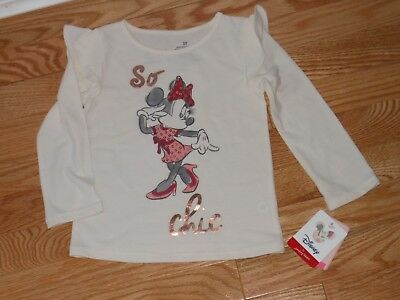 "NWT - Disney Minnie Mouse ""So Chic"" long sleeved ivory sequined top - 2T girls"