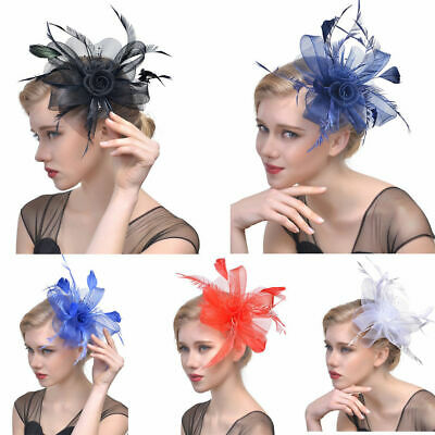 Women's Fascinator Hat Flower Mesh Ribbons Feathers Headband Cocktail Tea Partyy