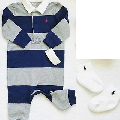 NWT Ralph Lauren Baby Boy Set of 2 - Coverall (3 mo) + 1 Pair of Socks (0-6 mo.)
