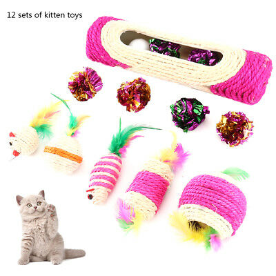 12pcs Cat Toys Set Kitten Meow Feathers Crinkle Foil Balls Mouse Scratching