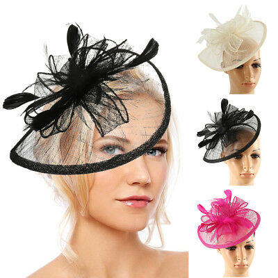 Signore cappello fiore piume clip superiore Fascinator Royal Ascot Race Wedding