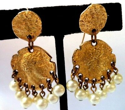 """Stunning Vintage Estate Faux Ancient Roman Coin 1 3/4"""" Pierced Earrings!!! 9925O"""