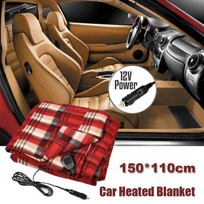 Electric Heated 12V Car Vehicle Caravan Truck Fleece Throw Rug Travel Blanket