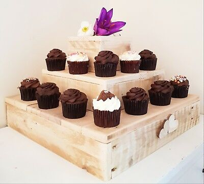 Handmade Rustic Wedding Cup Cake Stand