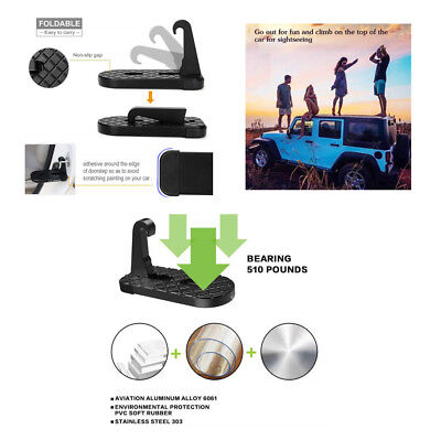 Car Doorstep Latch Foot Pedal Access To Roof top Black Aluminum Alloy Foldable