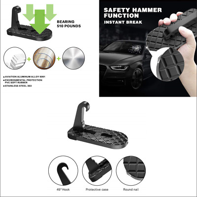 Car SUV Doorstep Easy Access to Rooftop w/Safety Hammer Metal Folding