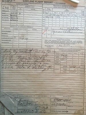 Lot Of WWII Airplane Flight Reports :Squadron Name List/inspection Reports