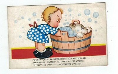 Antique  Comic Dog Post Card Little Girl Giving Dog a Bath in Wooden Tub