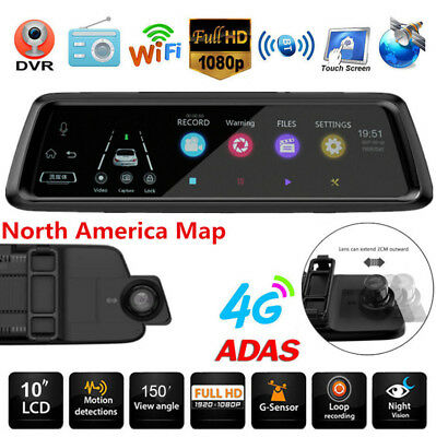 Car Rearview Mirror DVR GPS Bluetooth Android5.1 ADAS 10'' HD Dual Lens 4G Wifi