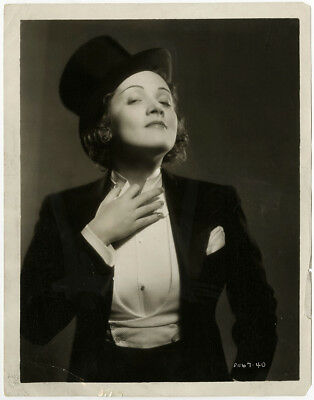 Marlene Dietrich Blue Angel Androgynous Tuxedo Photograph 1930 Vintage Pre-Code