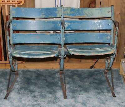 || Pair Old Yankee Stadium Wooden Seats circa 1950's Signed by Bobby Murcer ||