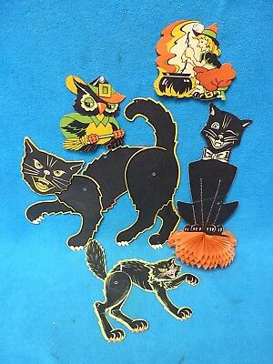 Beistle Halloween Vintage Lot of 5 Honeycomb Cat Jointed Cats Wall Decor  (VR)
